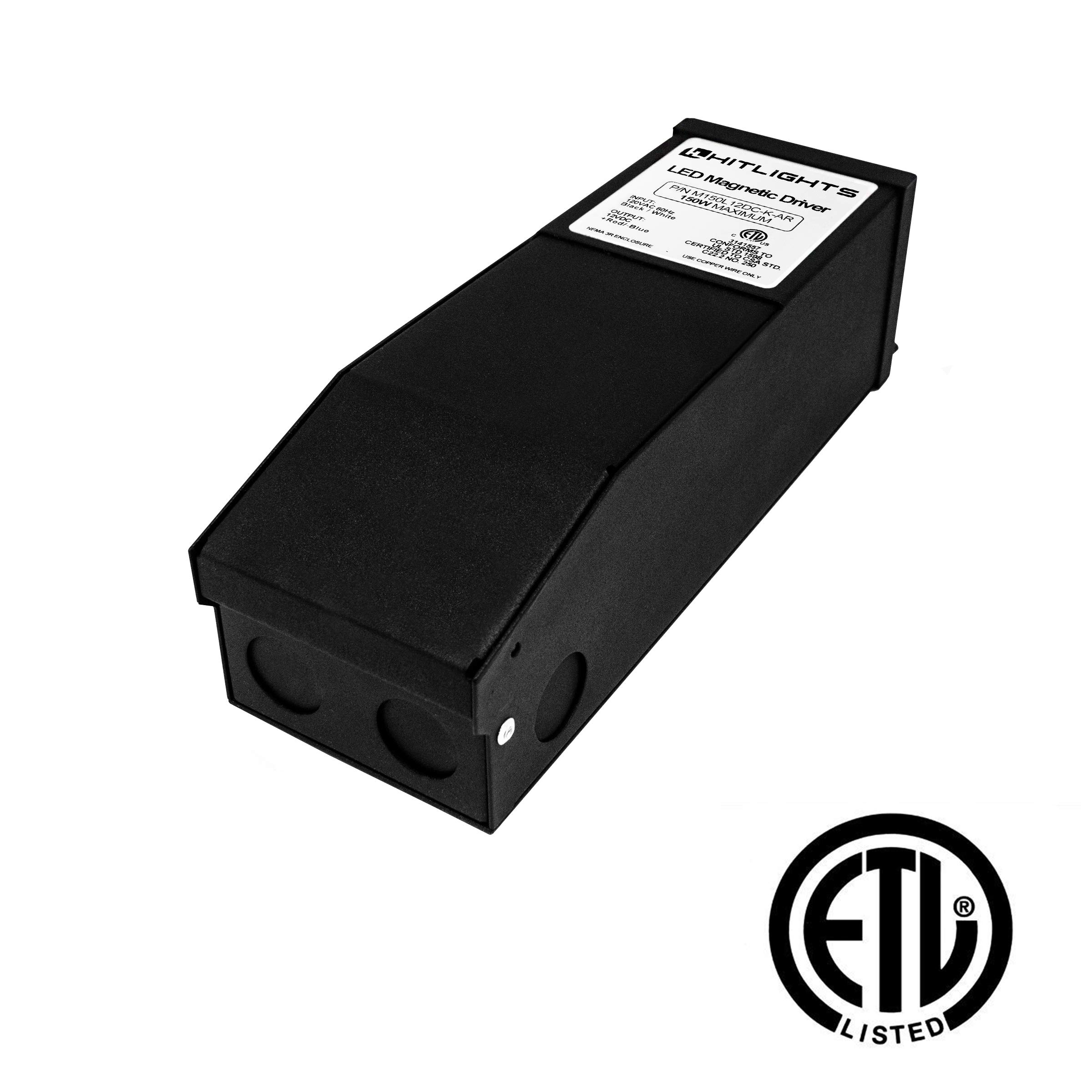 Magnetic 150 Watt Dimmable Driver, Magnetic LED Transformer - 110V AC-12V DC Transformer. Made in the USA. Compatible with Lutron and Leviton for LED Strip Lights, Constant Voltage LED Products