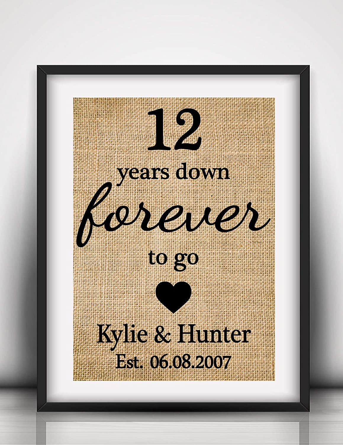 12th Anniversary Gifts 12th Wedding Anniversary Print 12years Down Forever To Go Gift For Him Gift For Her Anniversary Burlap Print 1l Frame Not Included Amazon Co Uk Handmade