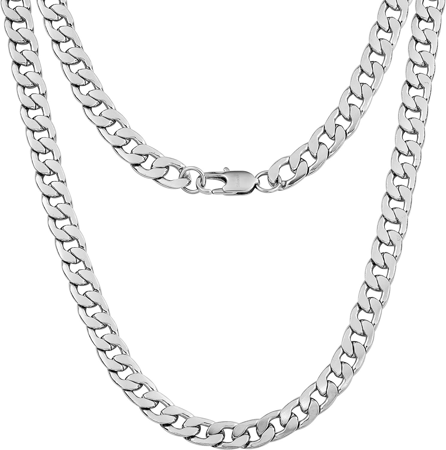 Silvadore 9mm Curb Mens Necklace - Silver Chain Flat Cuban Stainless Steel Jewelry - Neck Link Chains for Men Man Boys Male Heavy Military - 18 20 22 24 inch