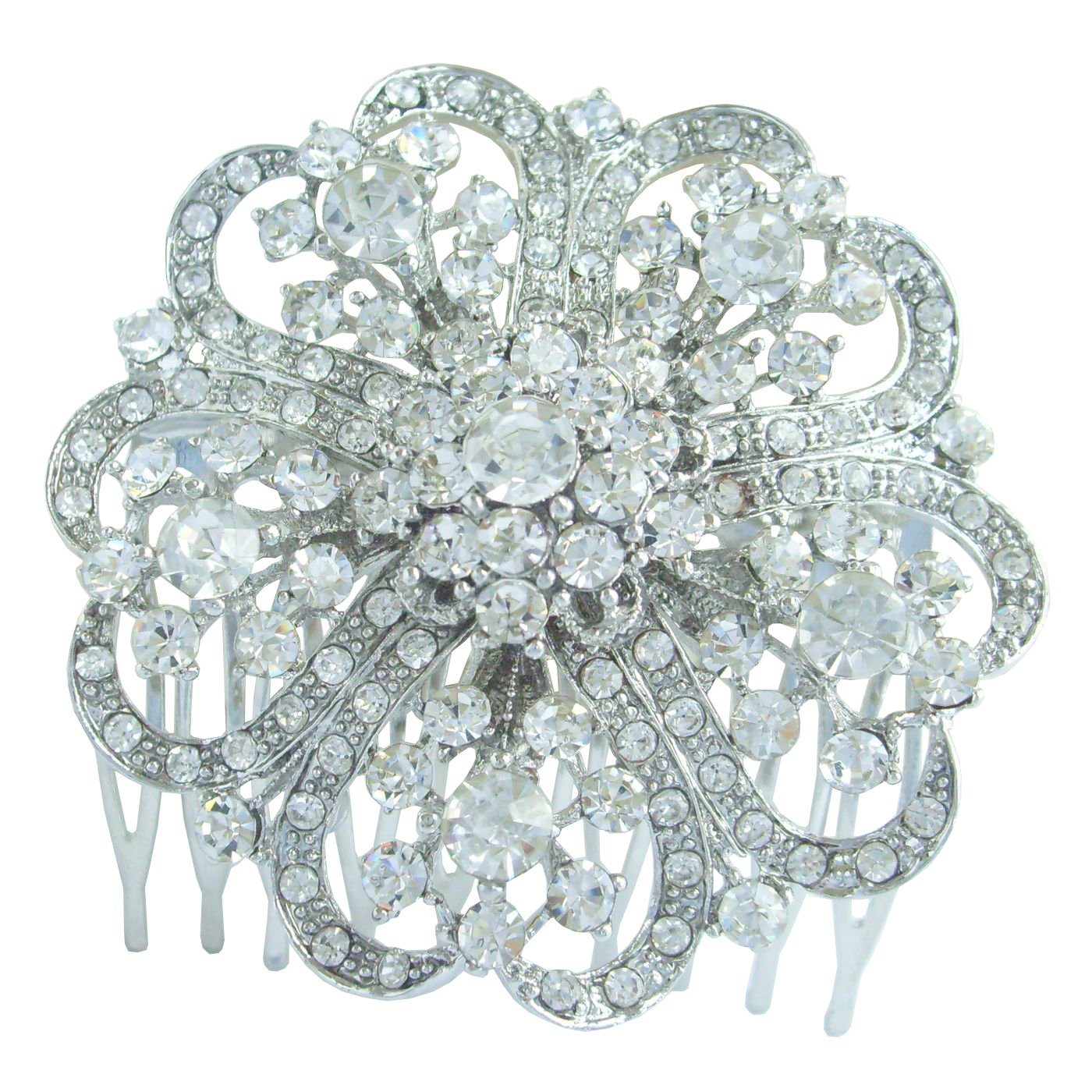 Sindary 2.36'' Silver Tone Flower Bridal Hair Comb Clear Rhinestone Crystal Wedding Headpiece HZ3609