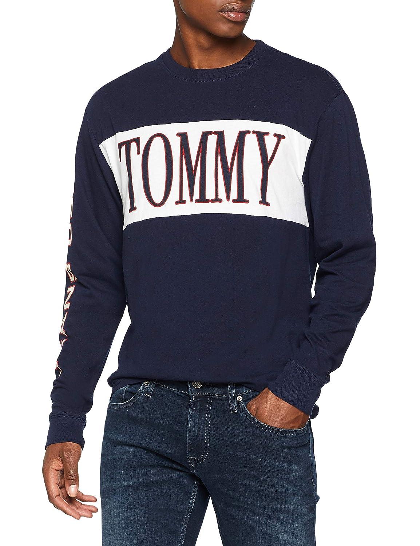 Uomo Blu Maglia Lunghe Jeans Maniche Retro A Tommy 5qp8WHt0