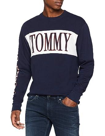 bff243956567 Tommy Jeans Herren Retro Langarm Langarmshirt Blau (Black Iris 002) Large