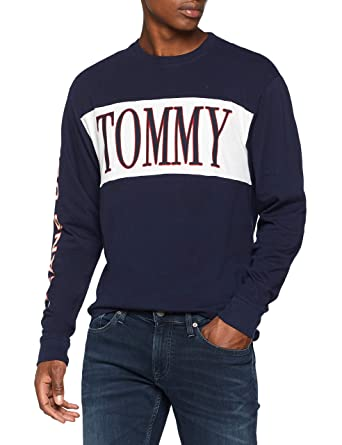 387af2087 Tommy Jeans Men's Retro Crew Neck Long Sleeve Top, Blue (Black Iris 002)