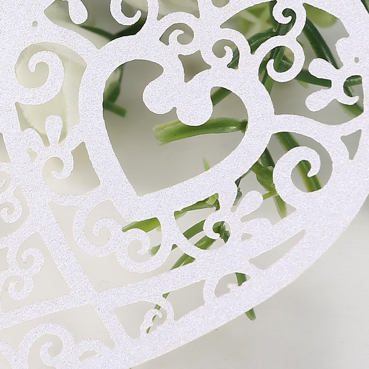 50x White Heart Cup Card Holder Name Place card wedding party decoration Cup card R TOOGOO