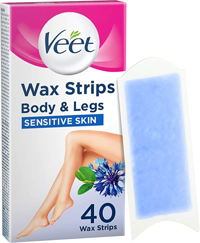 Veet Wax Strips for Sensitive Skin for Body and Legs, 20 Double Sided Strips, Pack of 40 (Packaging May Vary): Amazon.co.uk: Health & Personal Care