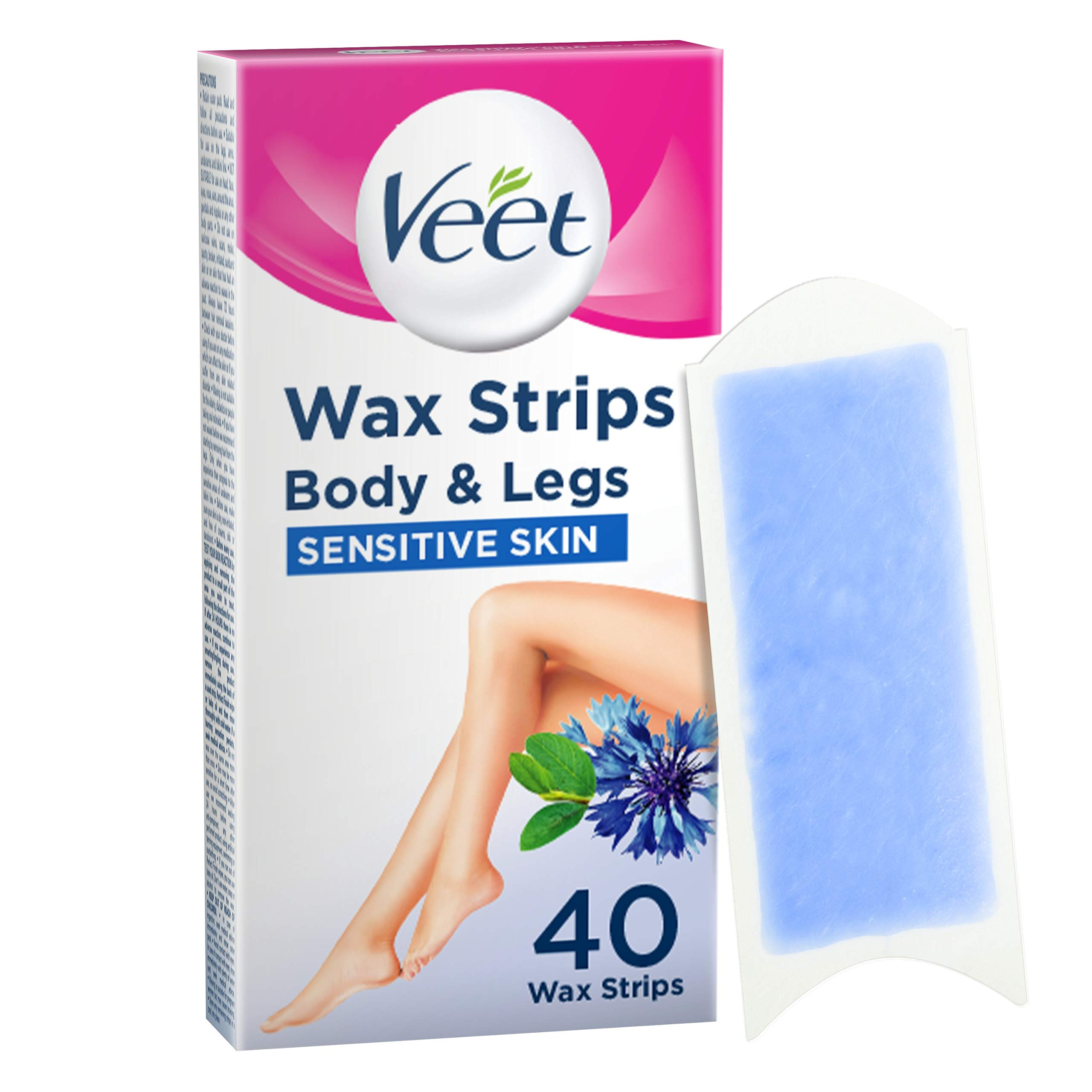 Veet Wax Strips for Sensitive Skin for Body and Legs, 20 Double Sided Strips, Pack of 40 (Packaging May Vary)