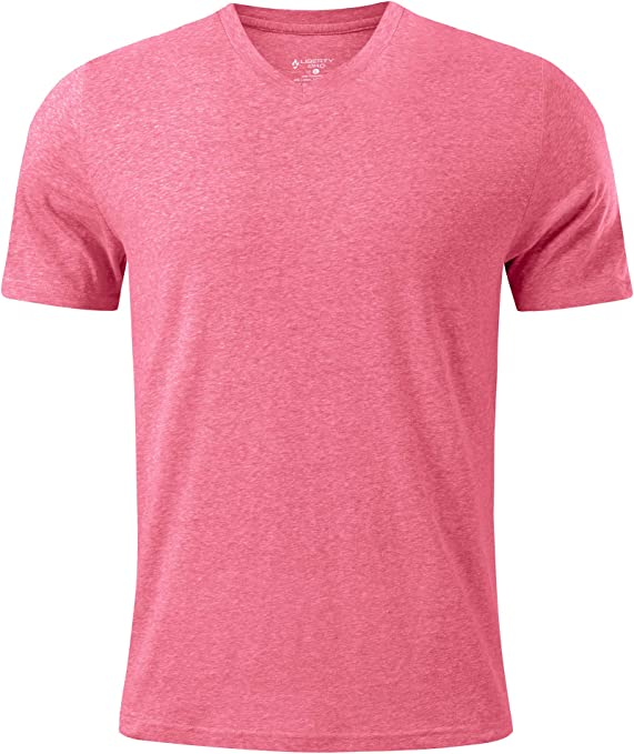 Liberty Pro Men's Pink Fitted Triblend V-Neck Short Sleeve T-Shirt Casual Wear