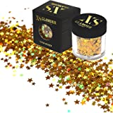 XS Glamour - GOLD DUST Chunky Glitter ✮ 8g COSMETIC GLITTER STARS ✮ Festival Glitter ✮ Sparkle ✮ Face Glitter ✮ Body Glitter ✮ Hair Glitter ✮ Nail Glitter