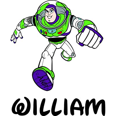 Custom Names Personalized Name Buzz Lightyear Toy Story Animated Movie Pixar Disney Wall Decals for Kids Bedroom/Boys Wall Decor Vinyl Sticker Art/Size 20x20 inch: Home & Kitchen