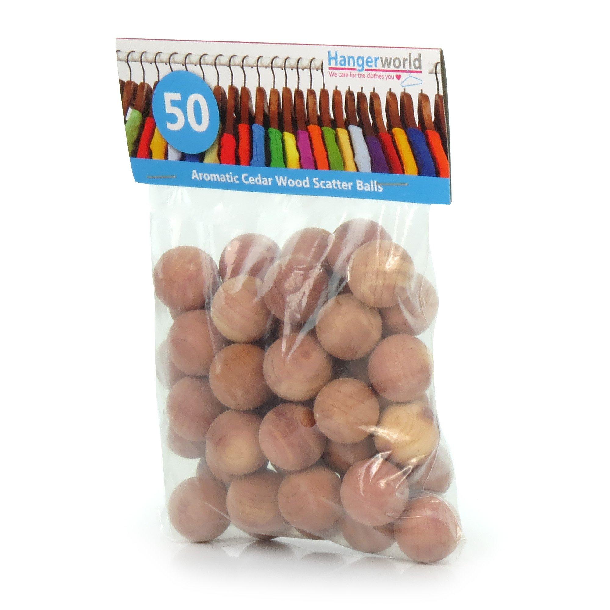 HANGERWORLD 50 Natural Cedar Wood Moth Repellent Balls Drawers Closet Freshener