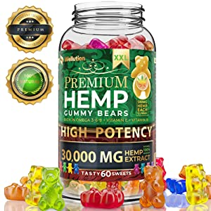 Hemp Gummies Premium XXL 30000 MG High Potency - 500 Per Fruity Gummy Bear with Hemp Oil   Natural Hemp Candy Supplements for Pain, Anxiety, Stress & Inflammation Relief   Promotes Sleep & Calm Mood