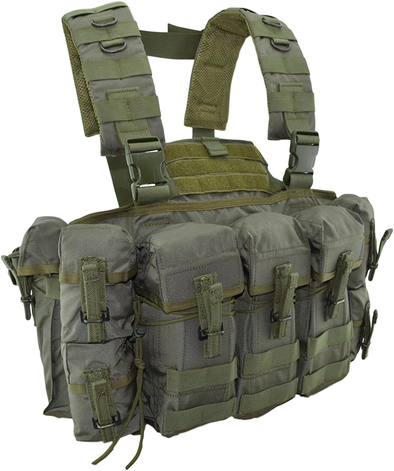 A photo of an olive-colored chest rig, multiple pouches seen.