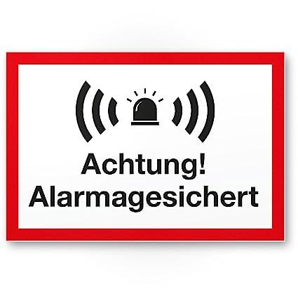 Advertencia Alarma gesic Hert Cartel (Blanco de rojo 30 x 20 ...