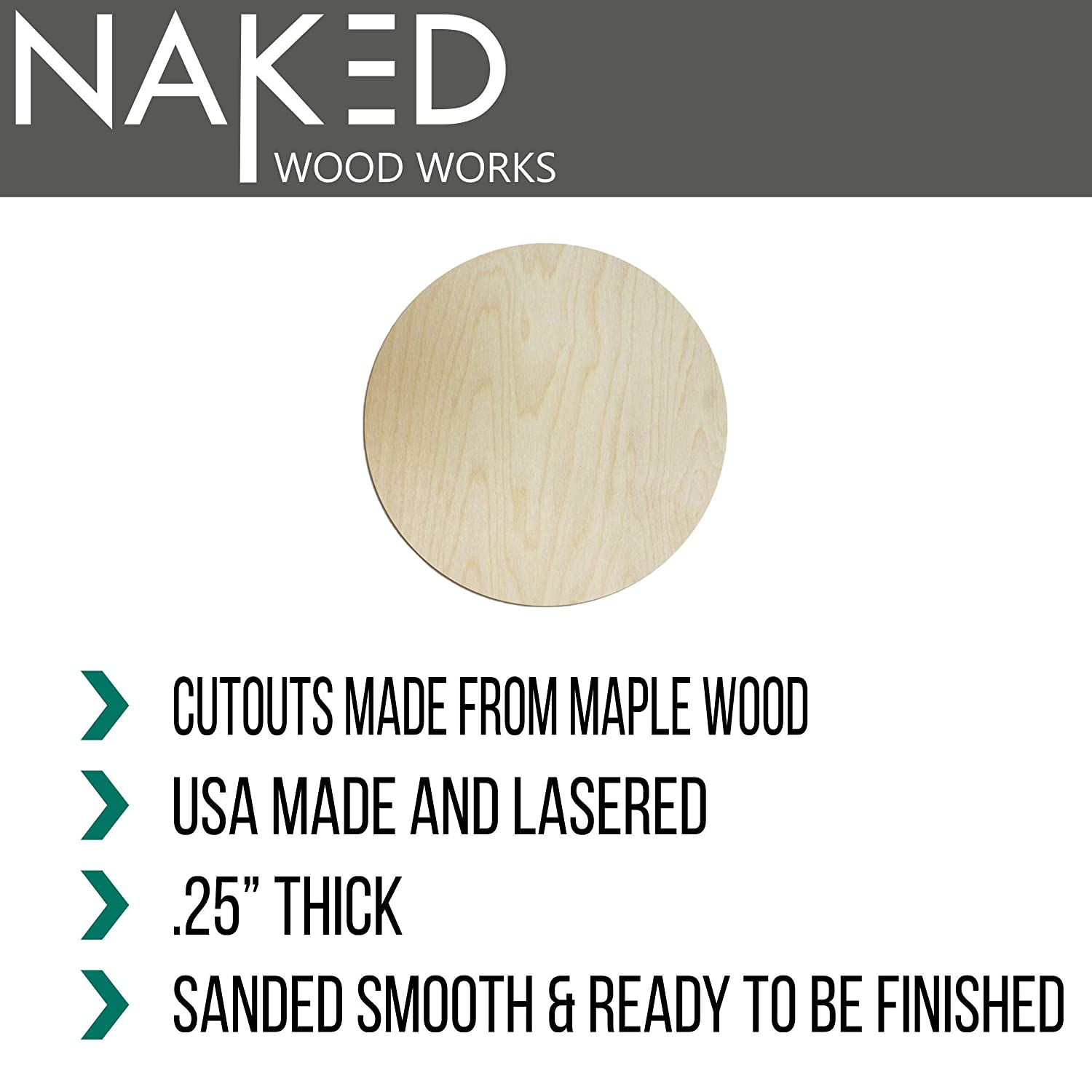 """Perfect for Craft Projects Additional options include a pack of 10 10/"""" rounds 12/"""" rounds DIY Signs and much more. Naked Wood Works 9/"""" wooden circle cutout package of 6"""