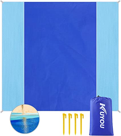 """RESUKT Beach Blanket Sandproof 83/"""" X 99/"""" Portable and Lightweight Picnic Blanket and Waterproof Beach Mat Fits 4-5 People,Soft Polyester Material Newly Upgraded Oversized"""