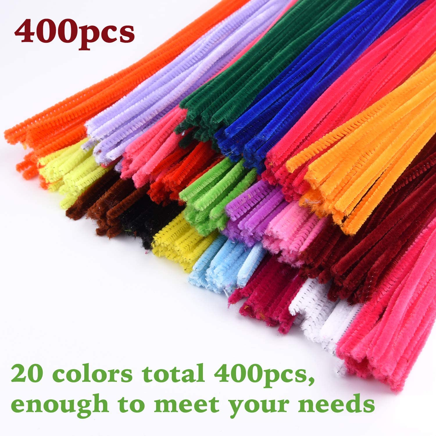 TUPARKA 400 Pcs Pipe Cleaners Chenille Stems DIY Art Craft Projects and Decorations,20 Assorted Colors