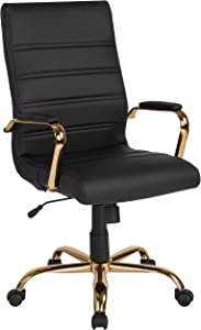 Flash Furniture High Back Black LeatherSoft Executive Swivel Office Chair with Gold Frame and Arms
