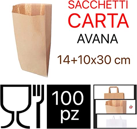 100 SACCHETTI DI CARTA AVANA 30+18x60 BUSTE PER ALIMENTI PANE DOLCI ORTOFRUTTA