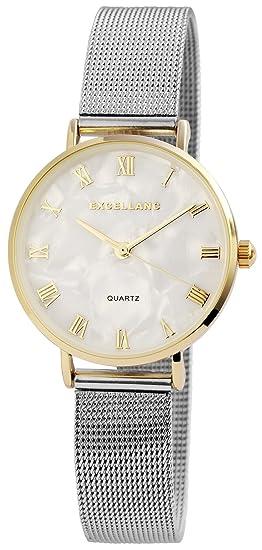 Reloj mujer Blanco Plata Oro Mesch banda analógico metal Reloj de pulsera
