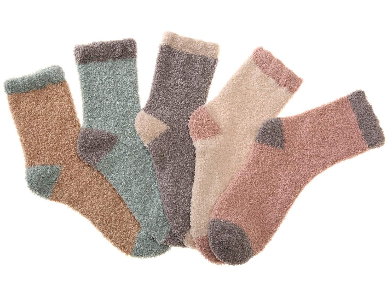 Women Girls Soft Warm Fuzzy Socks Cozy Slipper Winter Crew Socks 5 Pairs