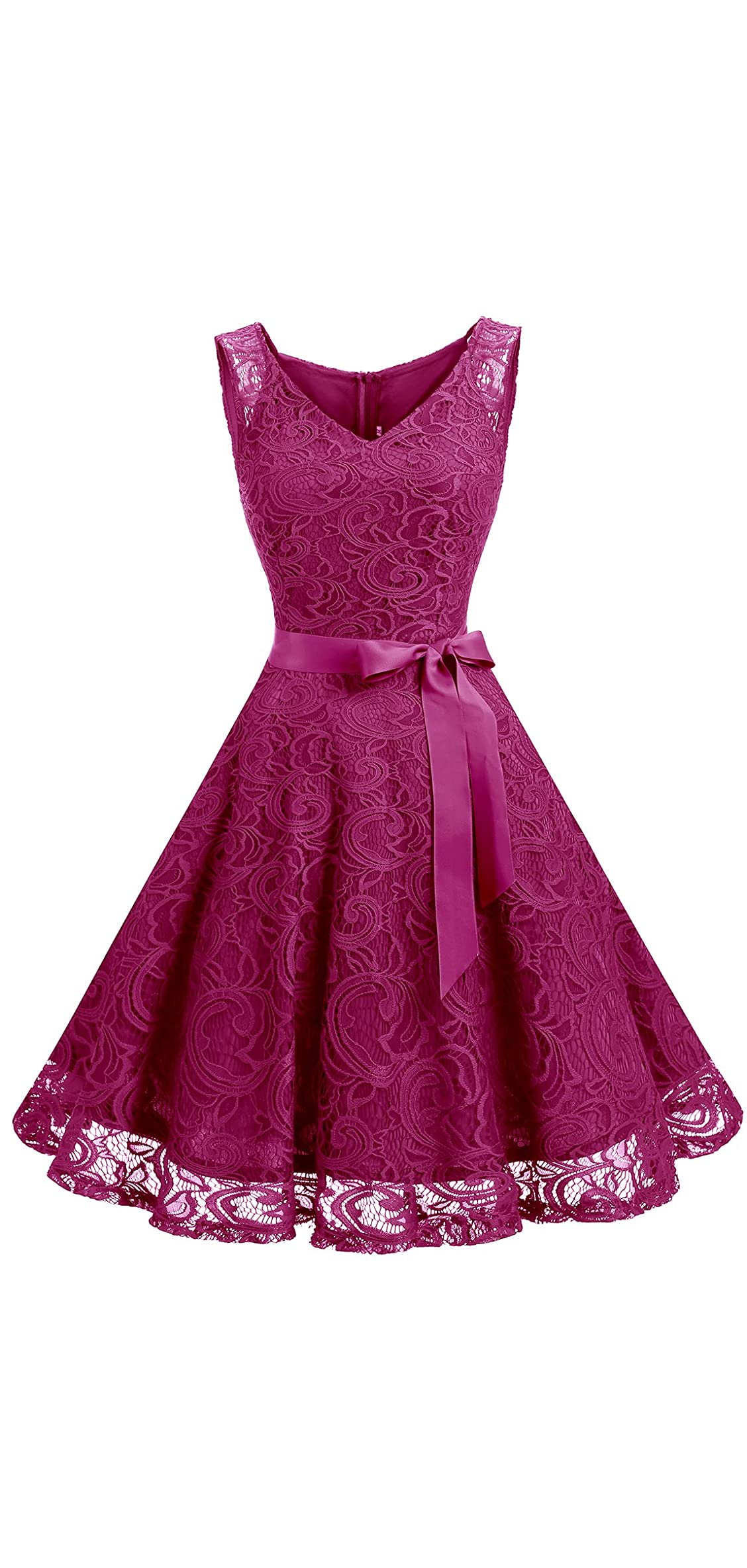 Women Floral Lace Bridesmaid Party Dress Short Prom V