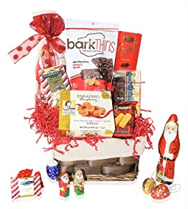 Christmas Basket - Santa, Chocolate, Gourmet, Food, Holiday Variety Gift for Family, Friends, Colleagues, Office, Men, Women, Corporate Her, Him, Kids, Mom and Dad