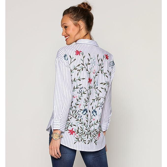 VENCA Camisa Bordado Ramas y Flores en el Cuello Camisero y Espalda Mujer  by - 023331 fee474ccb9287