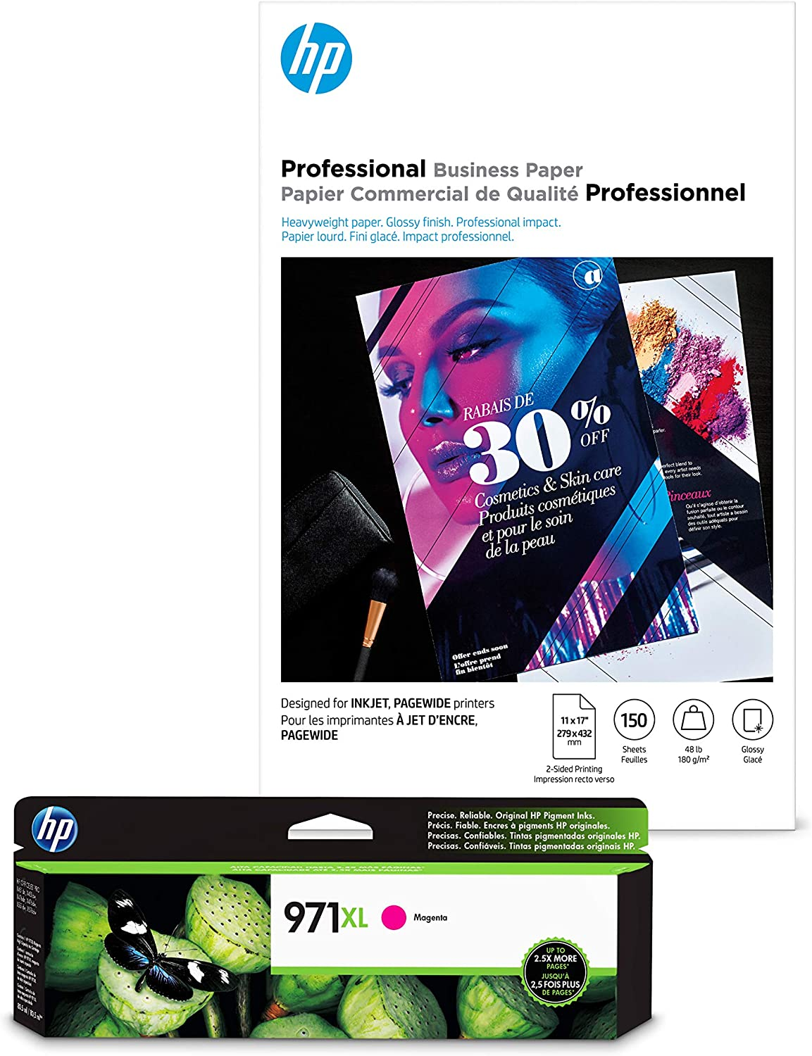 HP 970XL Magenta Ink + HP Professional Business Paper, Glossy, Inkjet, 11x17, 150 sheets