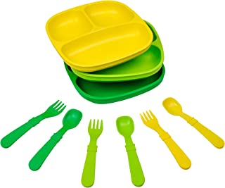product image for Re-Play Made in The USA Dinnerware Set - 3pk Divided Plates with Matching Utensils Set (Stem)