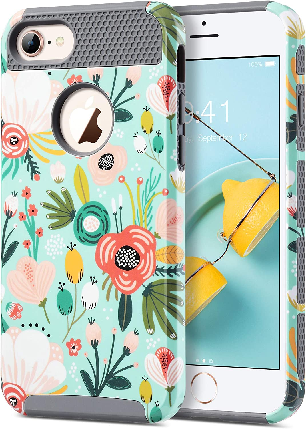 ULAK iPhone 7 Case, Colorful Series Slim Fit Hybrid Dual Layer Scratch Resistant Hard PC Back Cover Shock Absorbent TPU Bumper Case for Apple iPhone 7 4.7 inch, Mint Floral