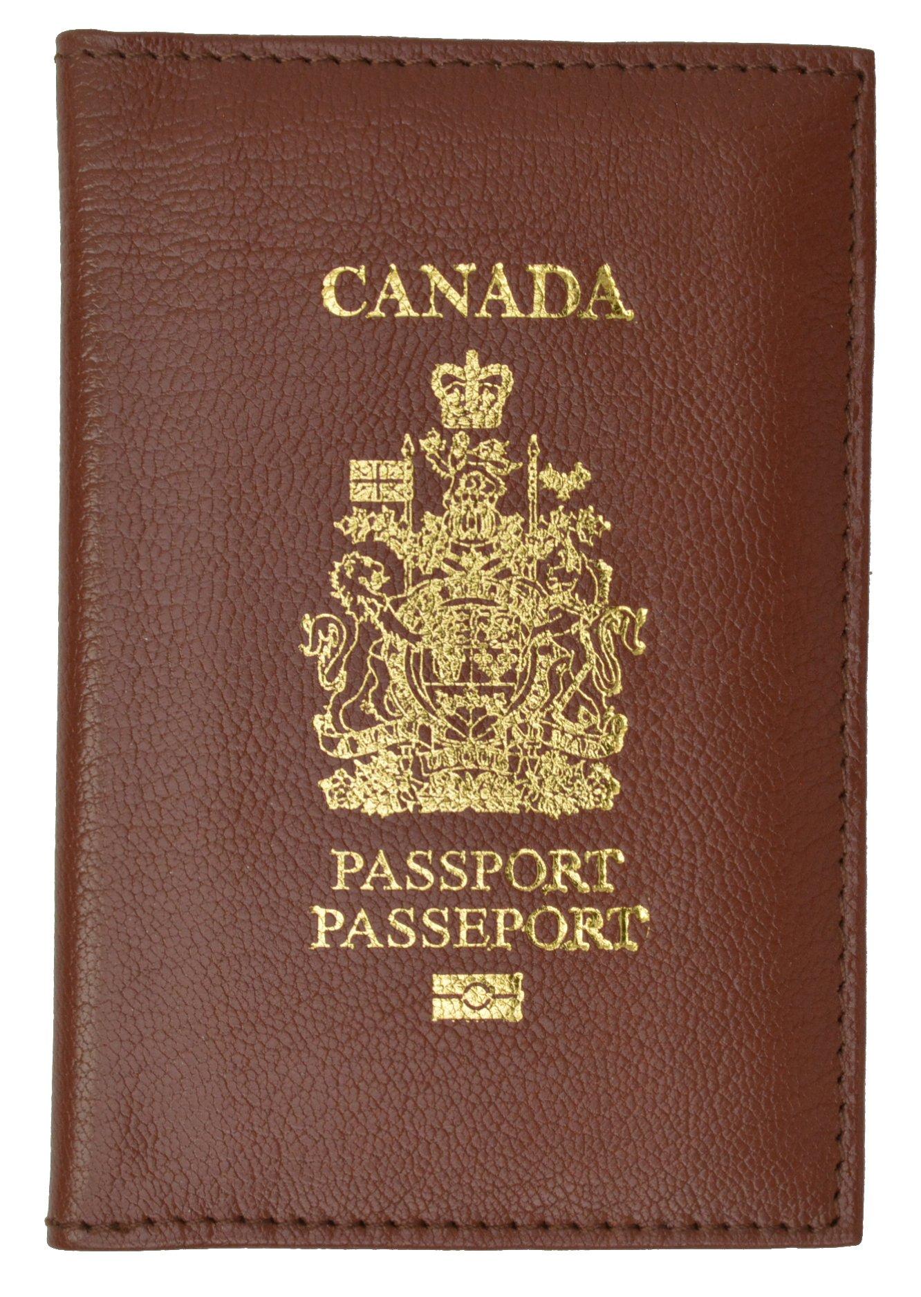 Canada Passport Wallet Genuine Leather Passport holder with Emblem (Burgundy)