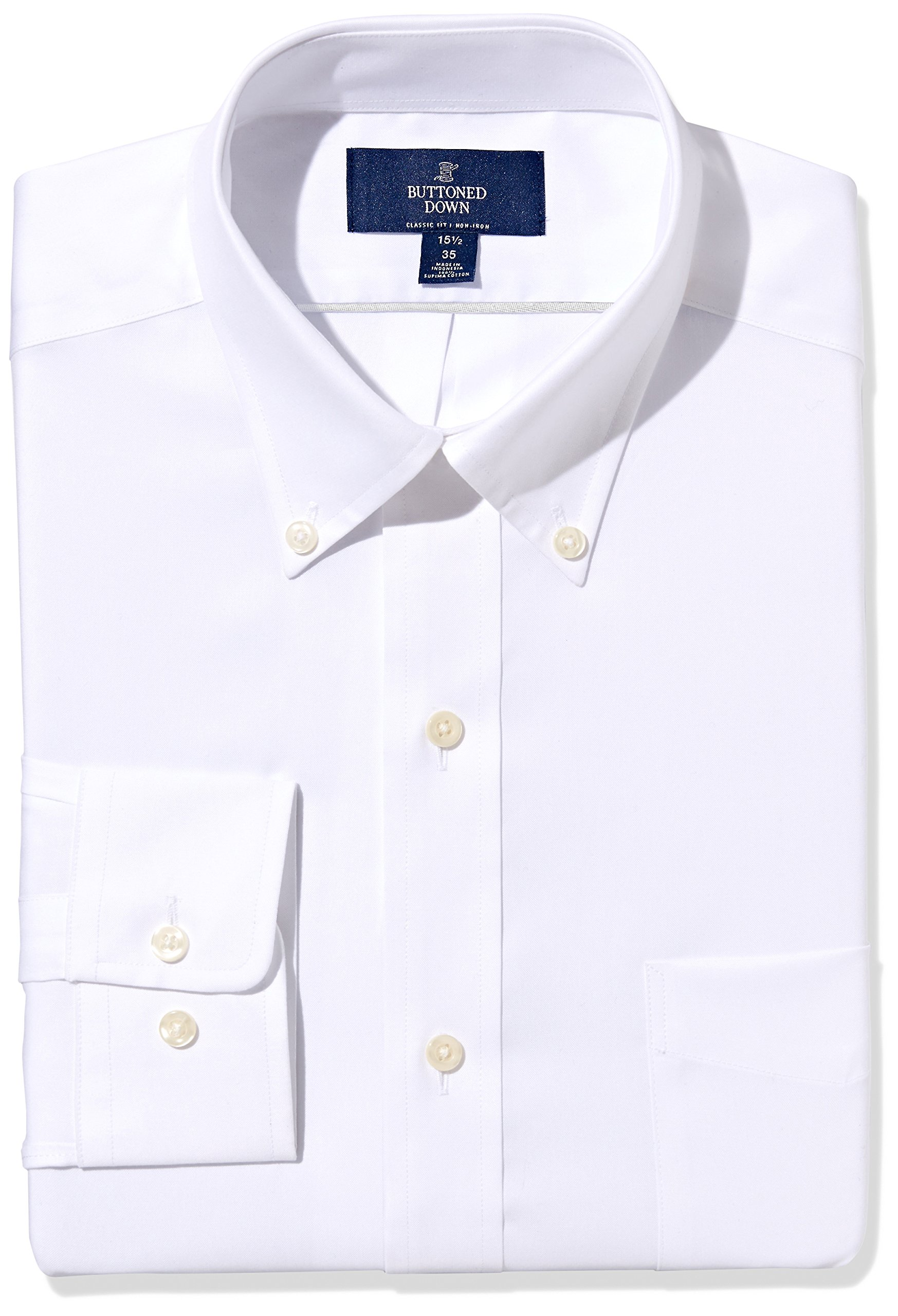 Buttoned Down Men's Classic Fit Button-Collar Non-Iron Dress Shirt (Pocket), White, 18.5'' Neck 35'' Sleeve (Big and Tall)