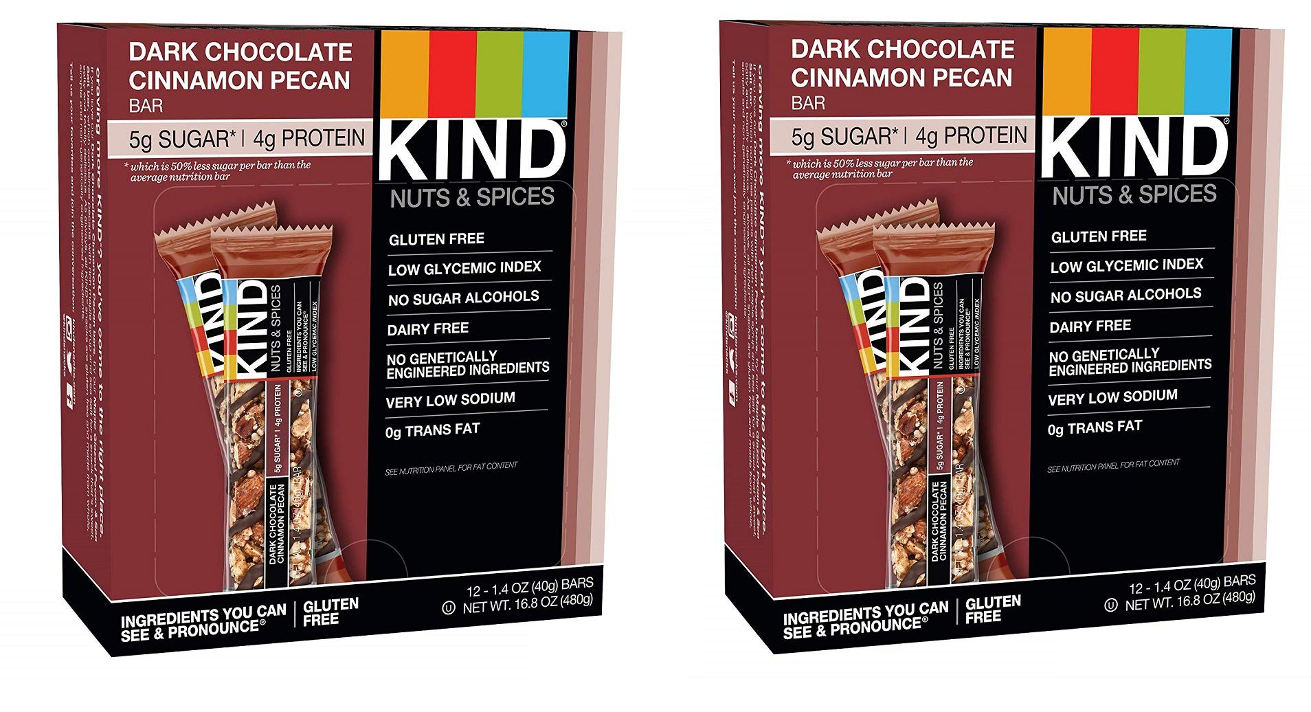 KIND Bars, Dark Chocolate Cinnamon Pecan, Gluten Free, Low Sugar, 1.4oz, 24 Bars