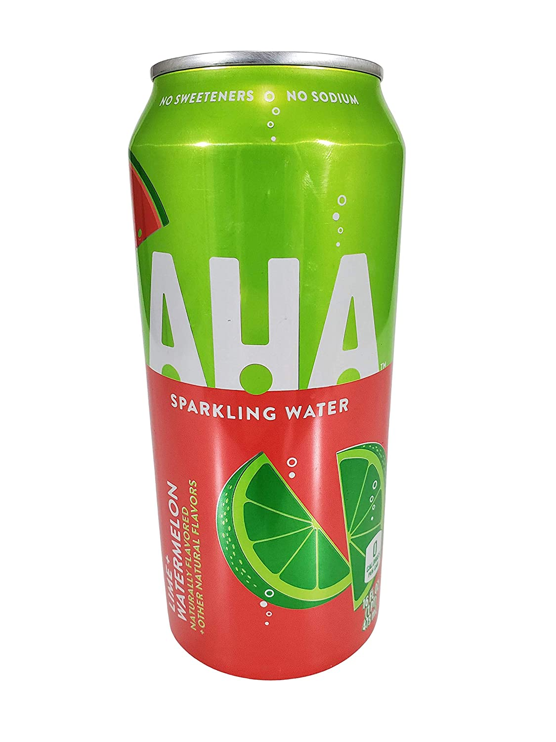 AHA Sparkling Water 16 ounce cans Naturally Flavored 0 Calories (Lime + Watermelon, 8 Cans)