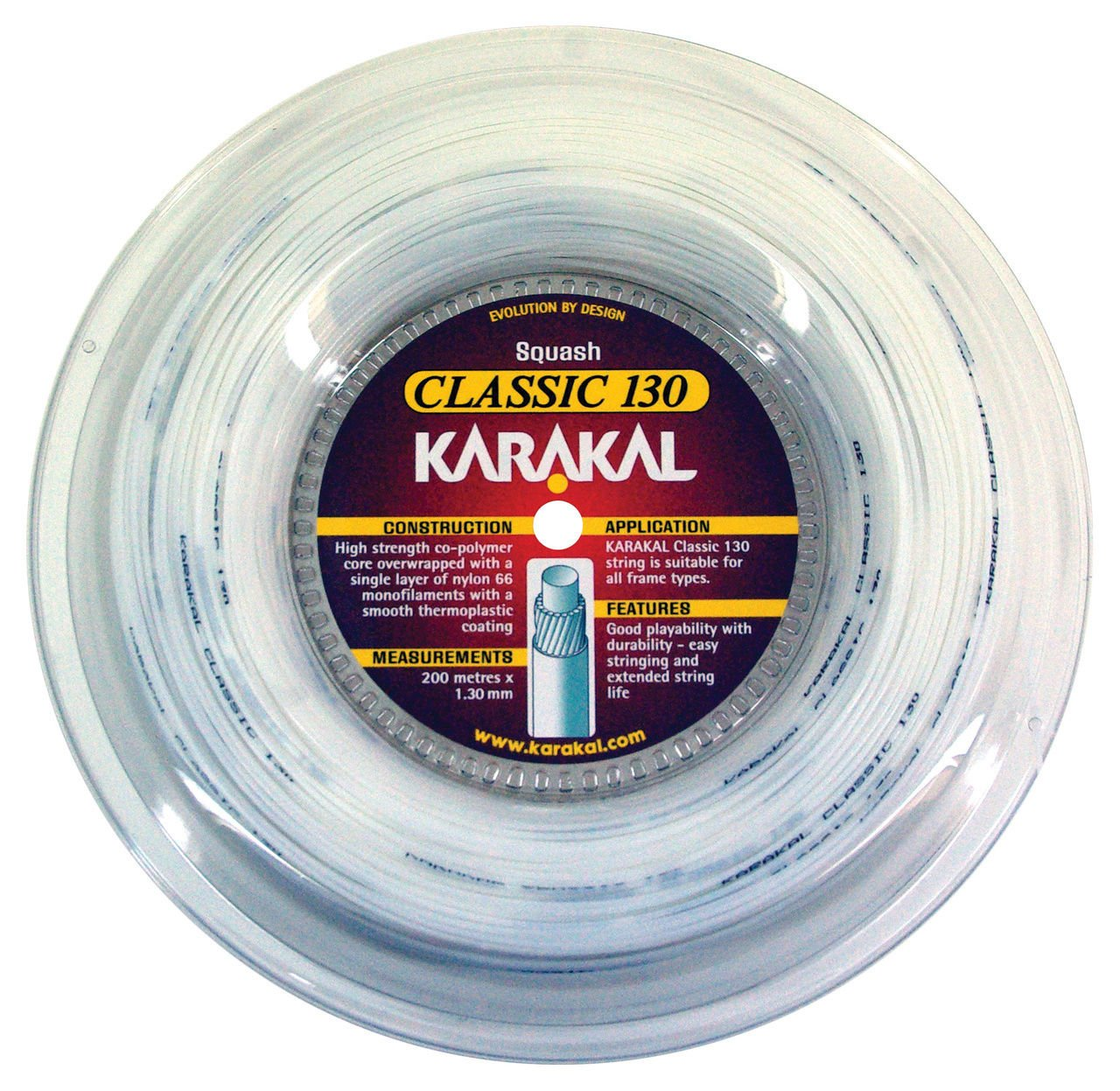 Karakal–Cuerdas para raqueta de squash clásica 16/1,30mm con carrete de 200m