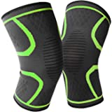 1 Pair Knee Brace Support Compression Sleeve Wraps Pads 1 Pair Knee Protector for Men & Women For Running Fitness Green