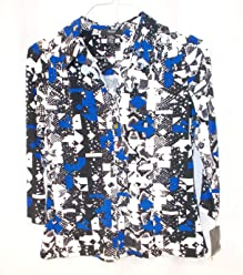 Alfani Petite Three-Quarter-Sleeve Floral Polo Top Geometric Shapes Snake Print Blue M