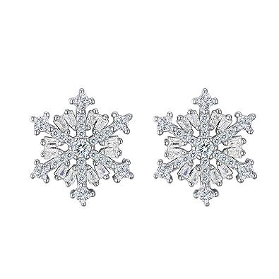EVER FAITH® 925 Sterling Silver Cubic Zirconia Valentine's Gift Snowflake Flower Stud Earrings N07292-1 TgwLNQMLQR