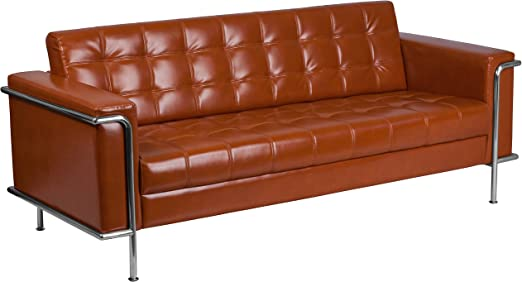 Flash Furniture HERCULES Lesley Series Contemporary Cognac Leather Sofa with Encasing Frame
