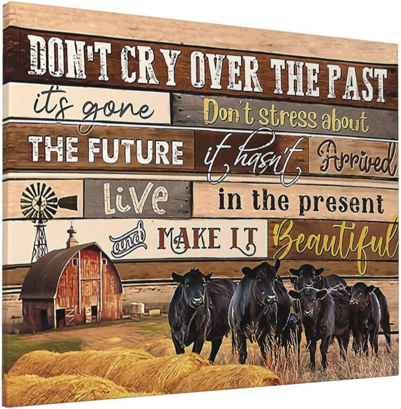 Cute Cow Canvas Wall Art Funny Rustic Farmhouse Cow Kitchen Decor Country Cattle Quotes Pictures Modern Giclee Print Painting Home Decoration For Dining Room Living Room Bedroom Framed Ready To Hang 16x20inch