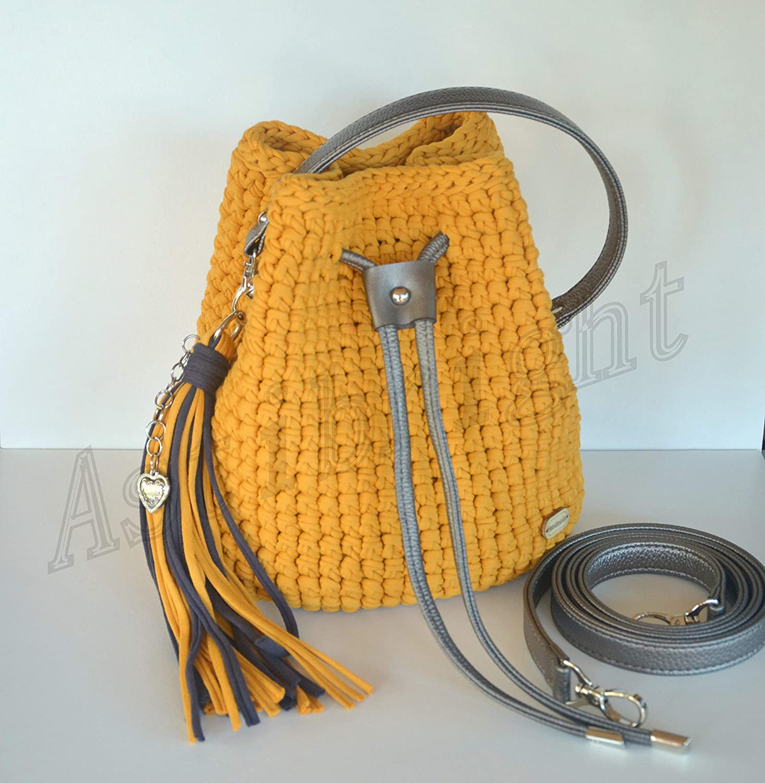 Amazoncom Mustard Bucket Bag Crochet Bag Tshirt Yarn Bag