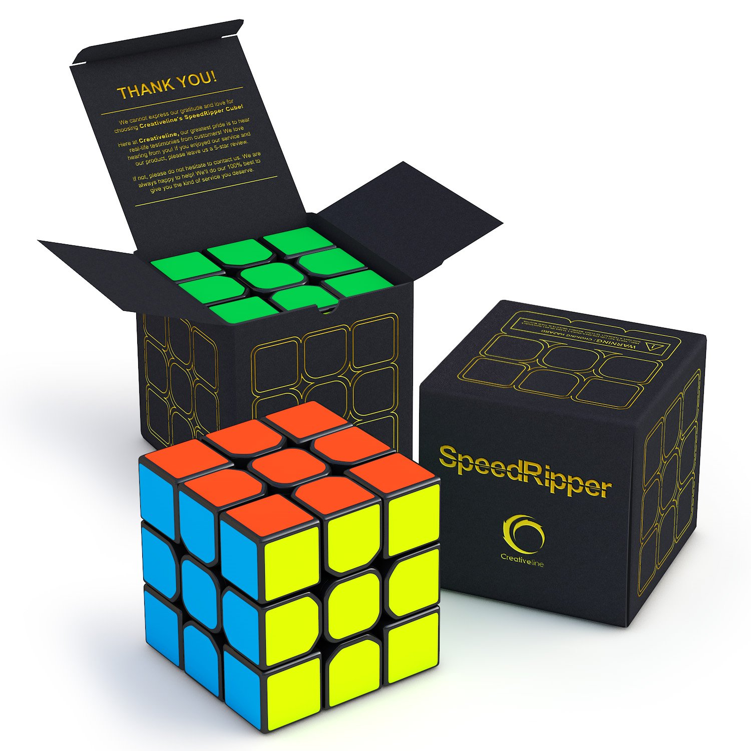 CreativeLine SpeedRipper Cube: Perfect for International Speed Cube Competitions - Buttery Smooth Turning - Solid & Durable, Best 3x3 Puzzle Magic Toy - Turns Quicker Than Original by CreativeLine