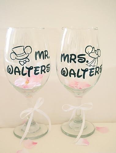 Amazon.com: Custom Wine Glasses Couples Mouse Wedding Gift ...