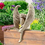 Redemption Angel Creative Sculpture Decoration Outdoor Home Angel Figurines, Long-Winged Sitting Statue Crying Angel Sculptur