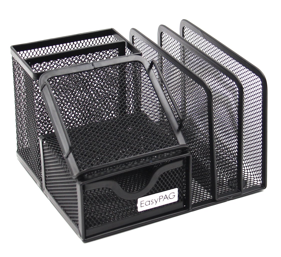 EasyPAG Mesh Office Supplies Desk Organizer Caddy with Drawer,6.5 x 5.5 x 4.25 inch,Black
