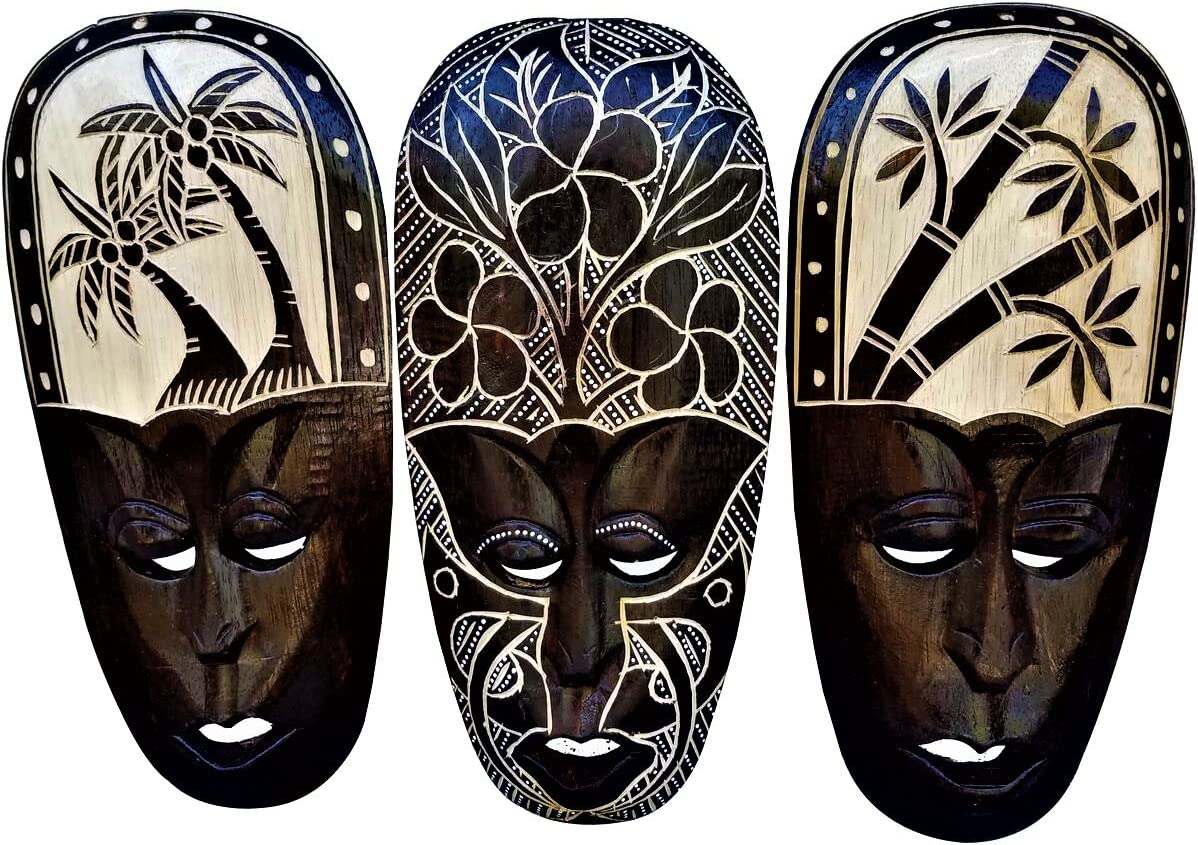 All Seas Imports Gorgeous Set Of (3) Hand Chiseled Wood African Style Wall Decor Palm Tree, Bamboo Tree, Hibiscus Flower Masks