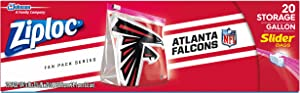 Ziploc Brand NFL Atlanta Falcons Slider Gallon, 20 ct