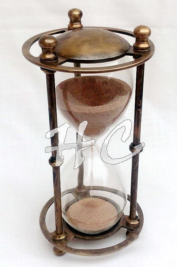 Vintage Nautical Decor Brass Ship Hourglass Maritime Antique Sand Timer Clock
