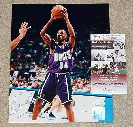 c9b6173d Ray Allen #34 Autographed Signed Memorabilia Milwaukee Bucks 8x10 Photo JSA  Coa #Cc32880