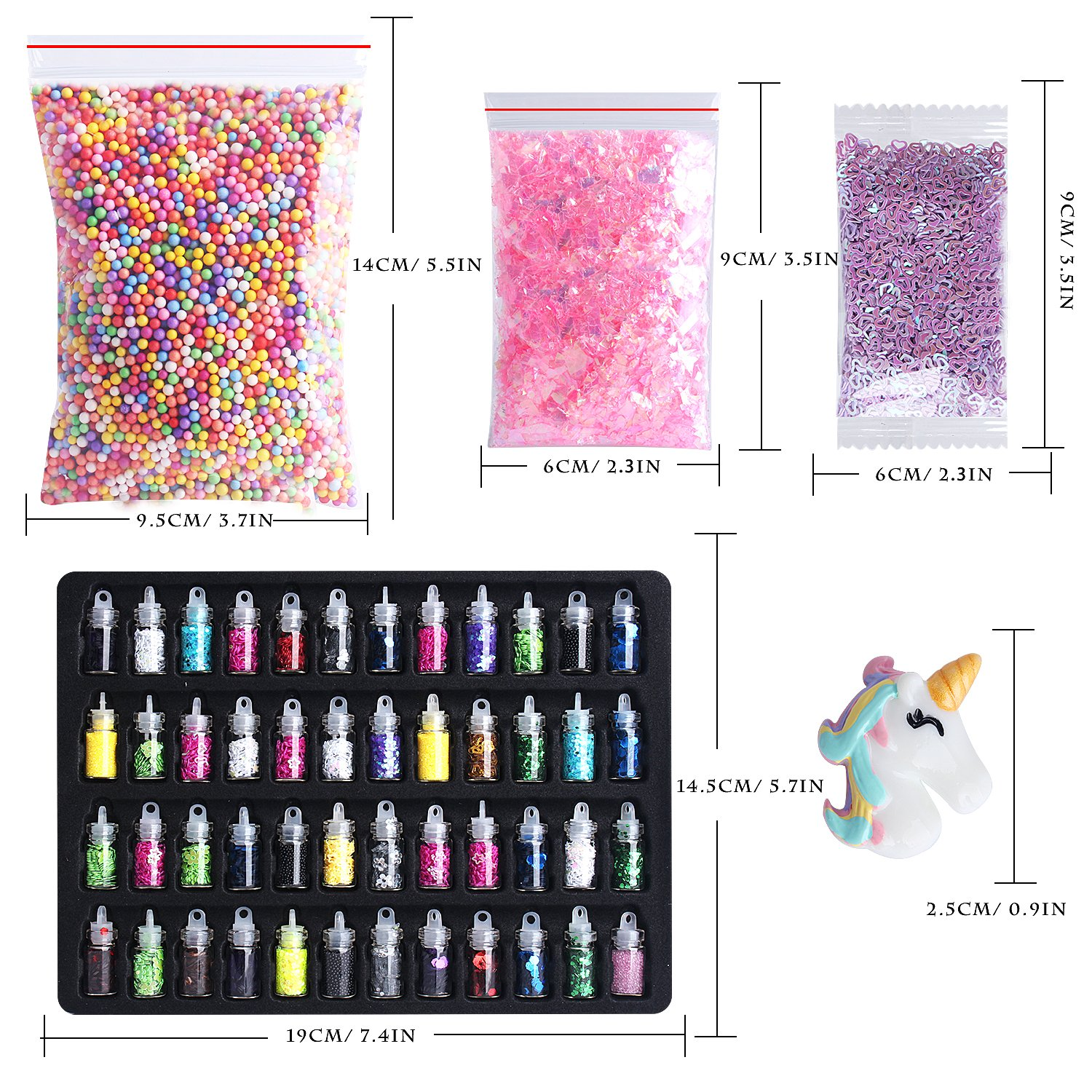Slime Supplies Kit, Outee 91 paquetes Diy Slime Kit incluyen Bolas de espuma, Fishbowl Beads, Glitter Jars, Fruit Slices, Rainbow Pearl, Shell, letras ...